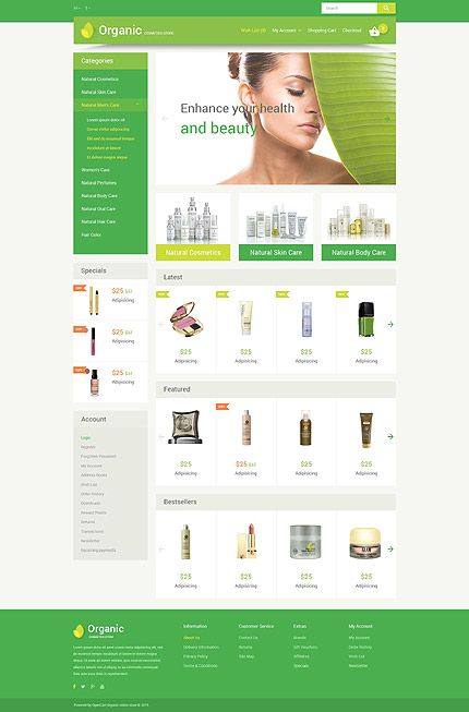 organic cosmetic store opencart webtemplate themes business