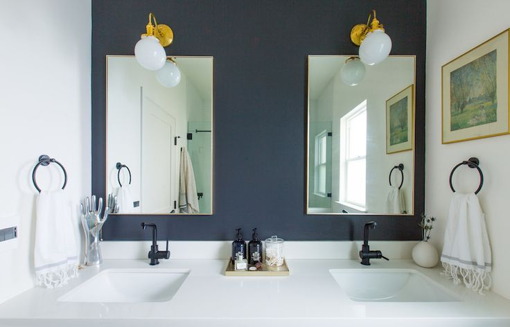 This Craftsman Makeover Will Make Your Jaw Drop Gold Bathroom - Master bathroom sconces