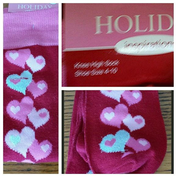 Knee High Valentines socks One pair, new, never worn! I don't like knee highs, so they are all yours! Accessories Hosiery & Socks