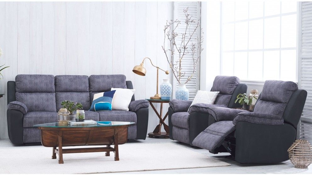Naomi 3 Piece Fabric Recliner Lounge Suite - Recliner Lounges ...