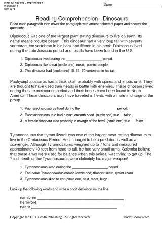 Snapshot image of Dinosaur Reading Comprehension Worksheet 1 ...