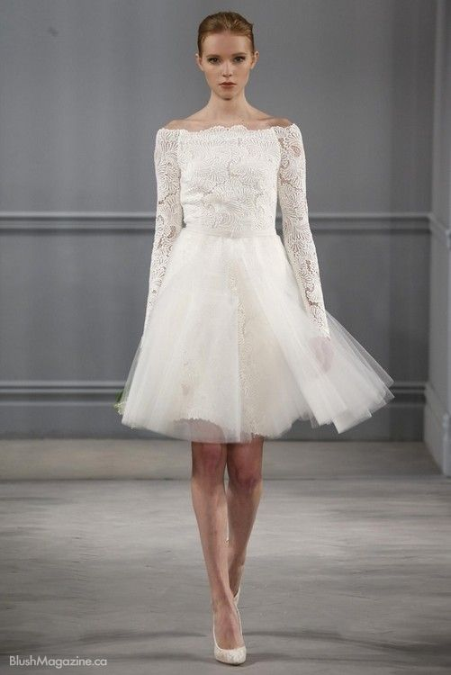 Monique lhuillier ss 2014 gowns pinterest monique lhuillier monique lhuillier spring 2014 short bridal dress with long sleeves junglespirit Choice Image