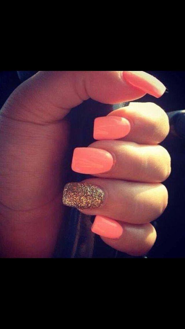 Peachy Peach Cute Nails Nails Coral Nails