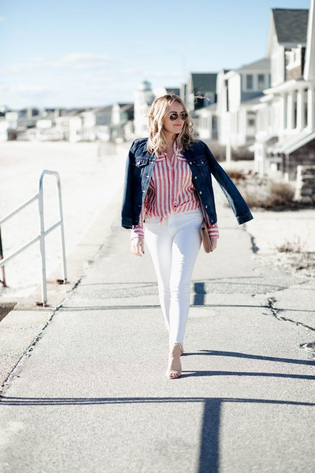 893b3b6bafed J Crew Red and White Striped Button Up Shirt with Denim Jacket and White  Skinny Jeans Outfits Nautical New England Style #redwhiteanddenim