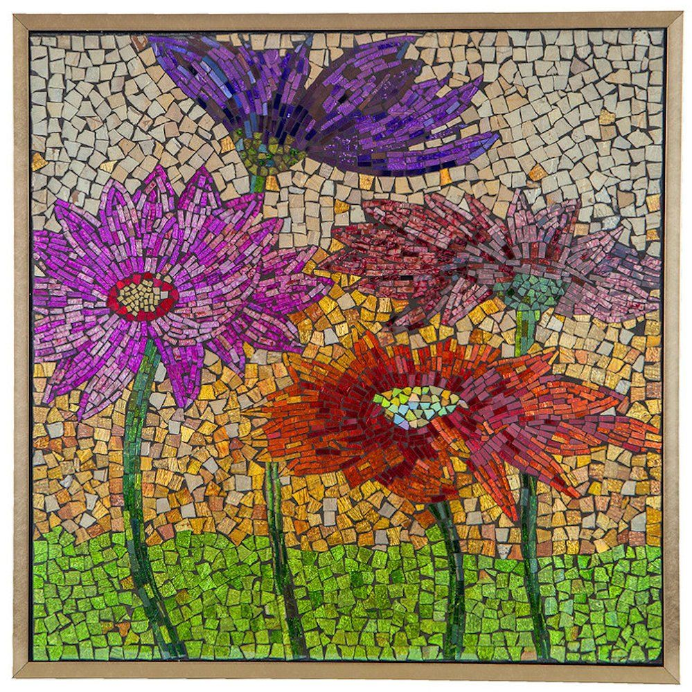 The Blooming Flowers Mosaic Glass Tile Wall Art will add