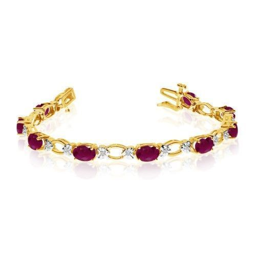 Angara Natural Ruby and Diamond Tennis Bracelet in 14k Yellow Gold yh3e91