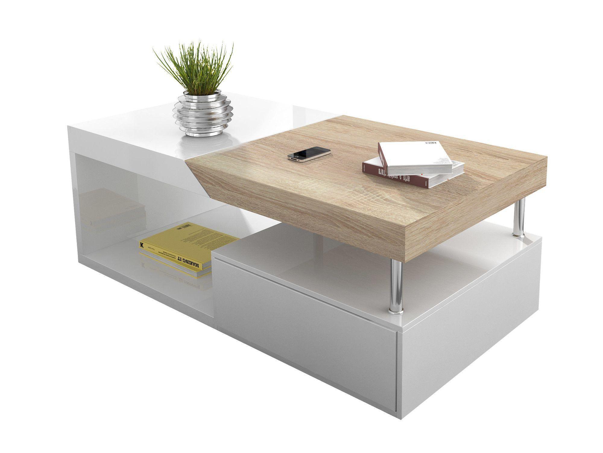 Table basse avec rangement coloris blanc laqué et bois ...
