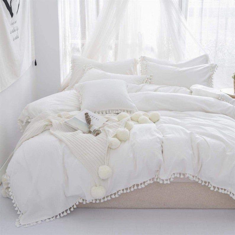 5 Pieces Set Cotton Fringes Tassels Duvet Cover Boho Bedding Etsy In 2021 White Duvet Covers Boho Duvet Cover King Size Duvet Covers White queen size duvet cover