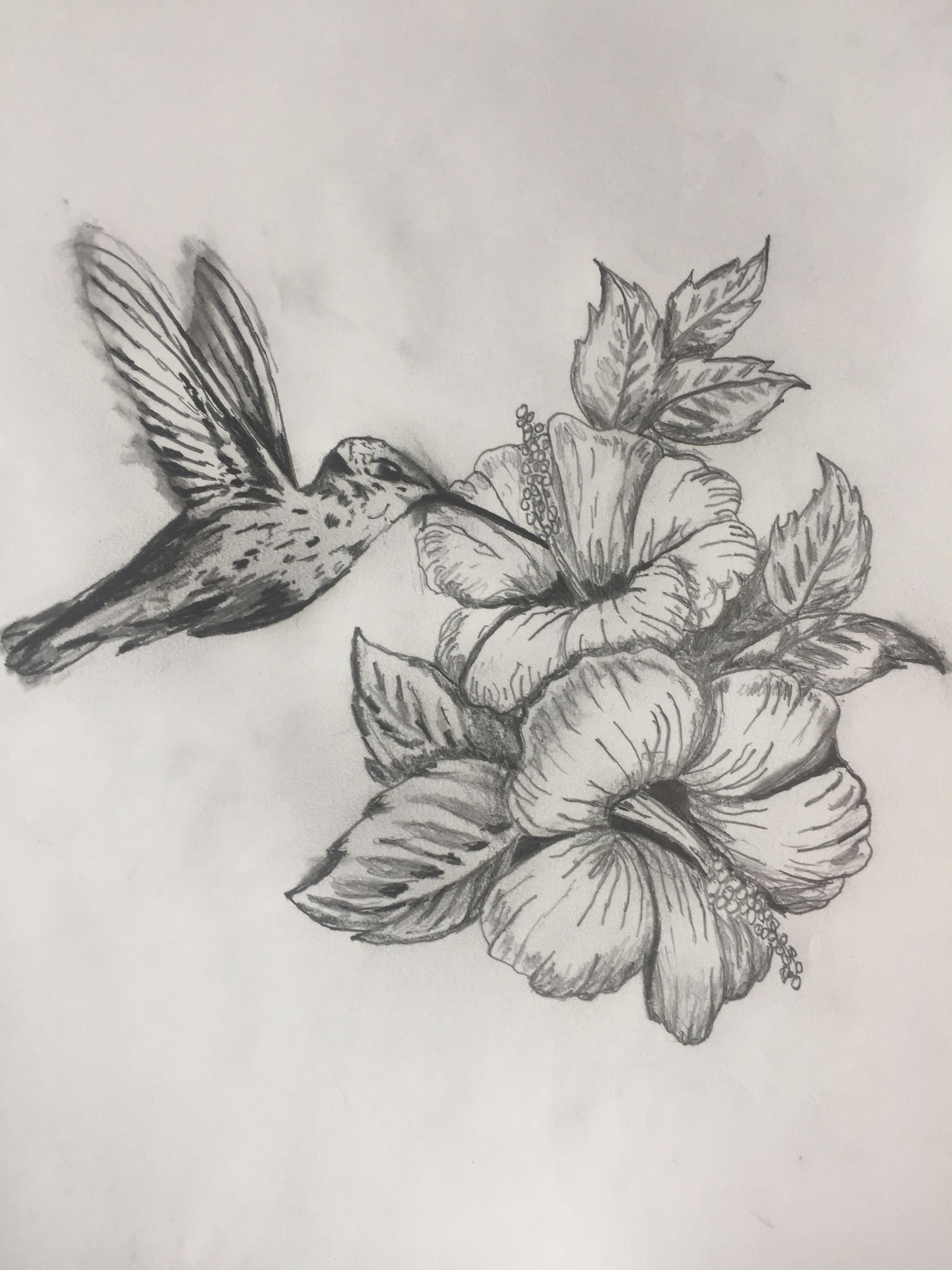 Drawing For Tattoo To Honor My Mom Hummingbird Hibiscus With