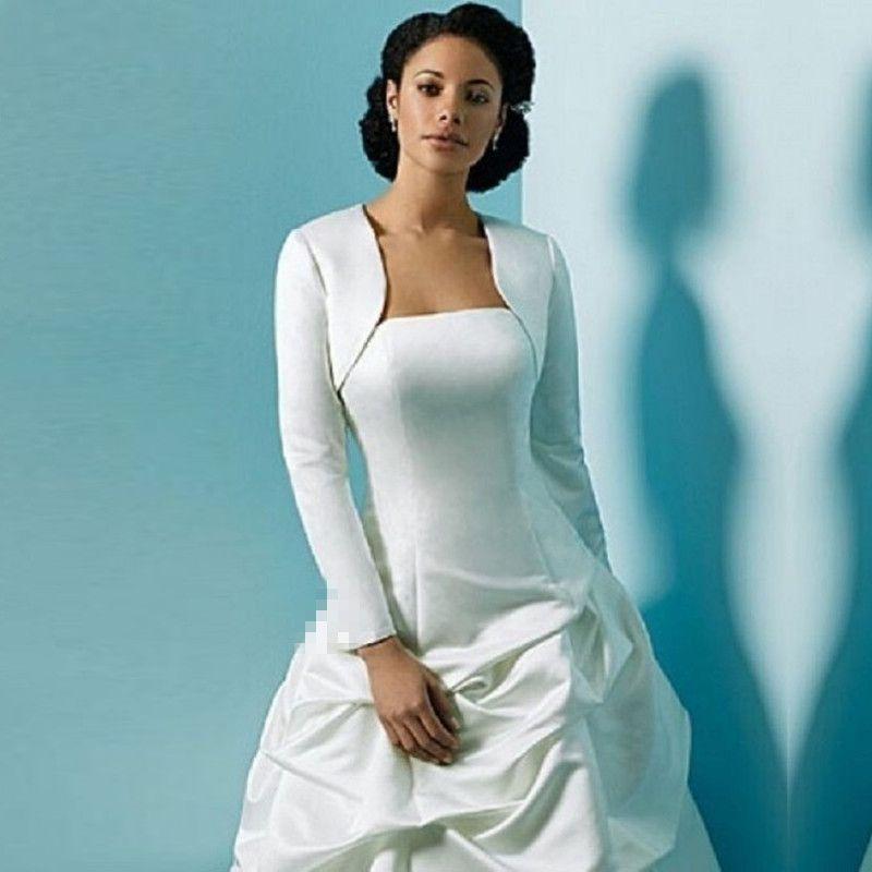 Jk021 Satin Long Sleeves Bridal Wraps Bolero Jacket White Ivory Elegant Wedding In Stock