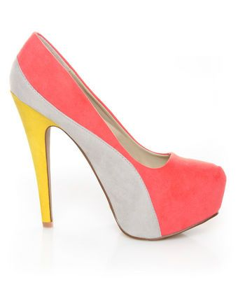 31b2ff5e3f6 Qupid Penelope 44X Coral Curvy Color Block Platform Pumps