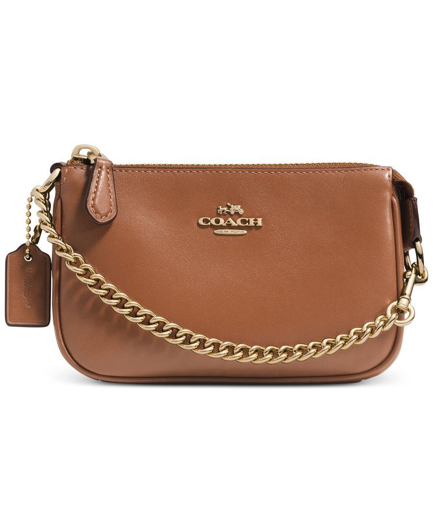 2ea7c336b37a Coach Nolita Wristlet 15 In Leather Gold Chain Design