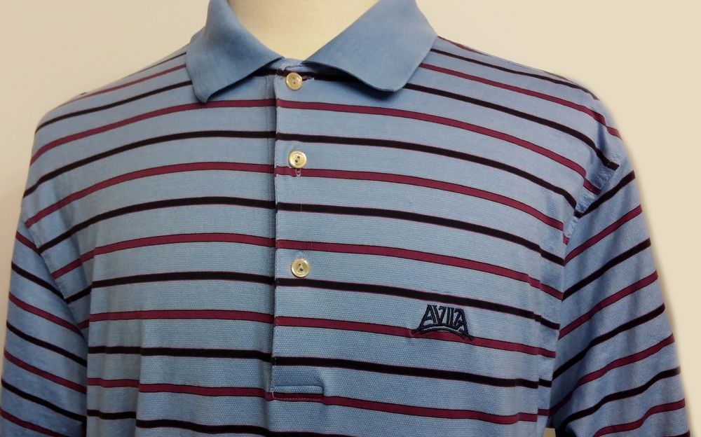 Peter Millar Men's Polo Golf Shirt Blue Striped Cotton Short Sleeve Size L #PeterMillar #PoloGolfShirt