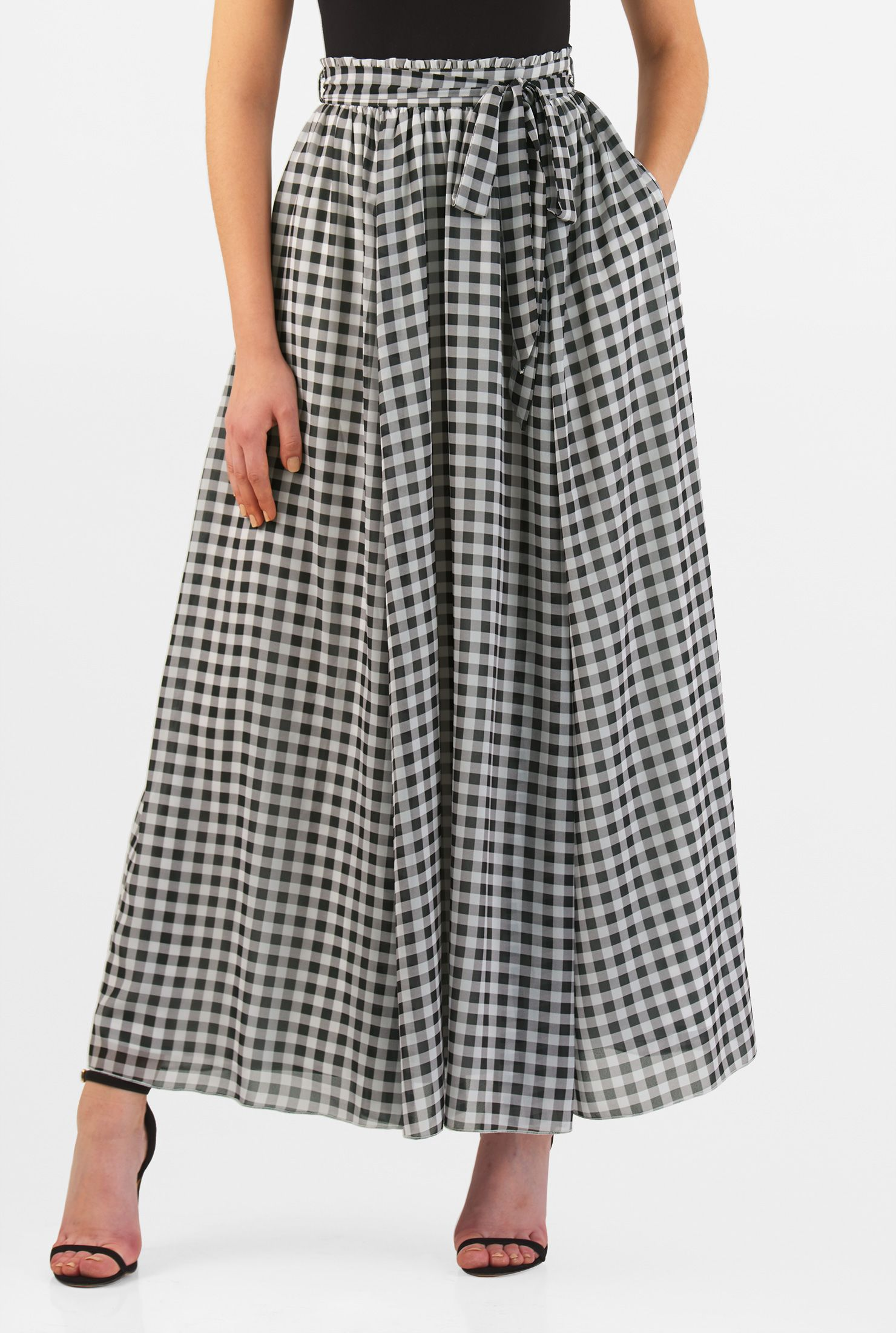 a6a01bee5ab A removable sash tie belt beautifully cinches in the paperbag waist of our  feminine gingham check print georgette skirt.