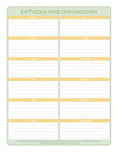 Free Printable  Ae Birthday Calendar  Organized Home  Diy