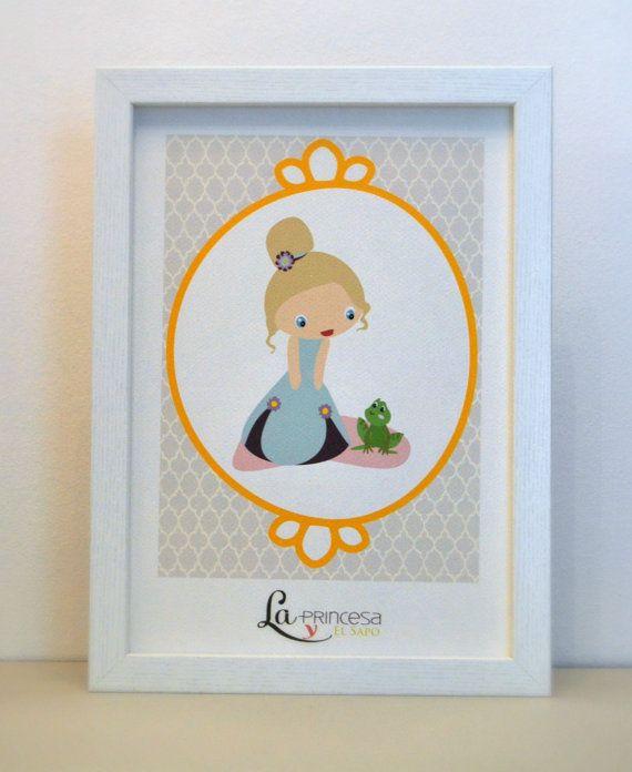 La Princesa y el Sapo https://www.etsy.com/es/listing/179605710/lamina-enmarcada-kawaii-princess-la