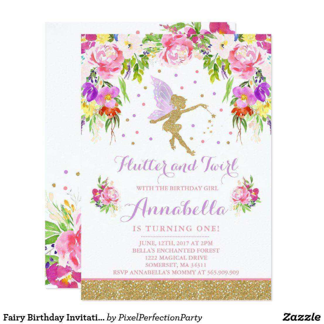 Fairy Birthday Invitation Whimsical Magical Party Zazzle