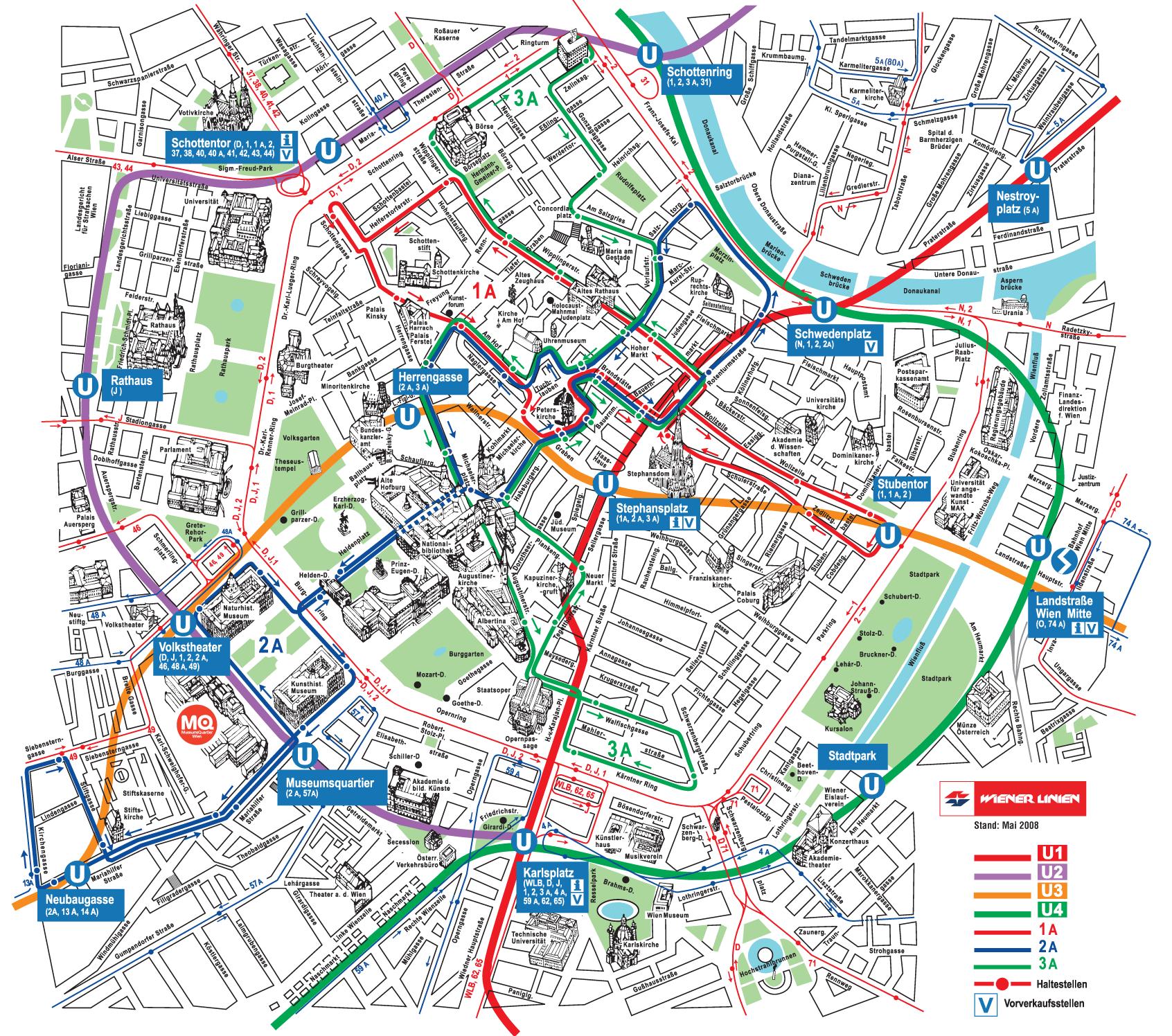 mapa de viena com pontos turisticos Monumentos em Viena, Áustria | MAPA CENTRO DE VIENA | Pinterest mapa de viena com pontos turisticos