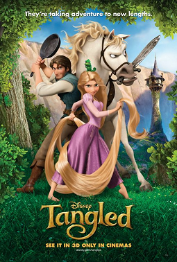 When the kingdom's most wanted-and most charming-bandit Flynn Rider hides out in a mysterious tower, he's taken hostage by Rapunzel, a beautiful and feisty tower-bound teen with 70 feet of magical, golden hair.  While far from Disney's greatest film, Tangled is a visually stunning, thoroughly entertaining addition to the studio's classic animated canon.