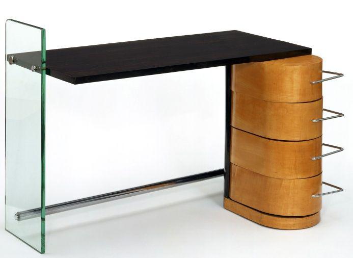 Art déco bureau bois clair verre et métal chromé denham