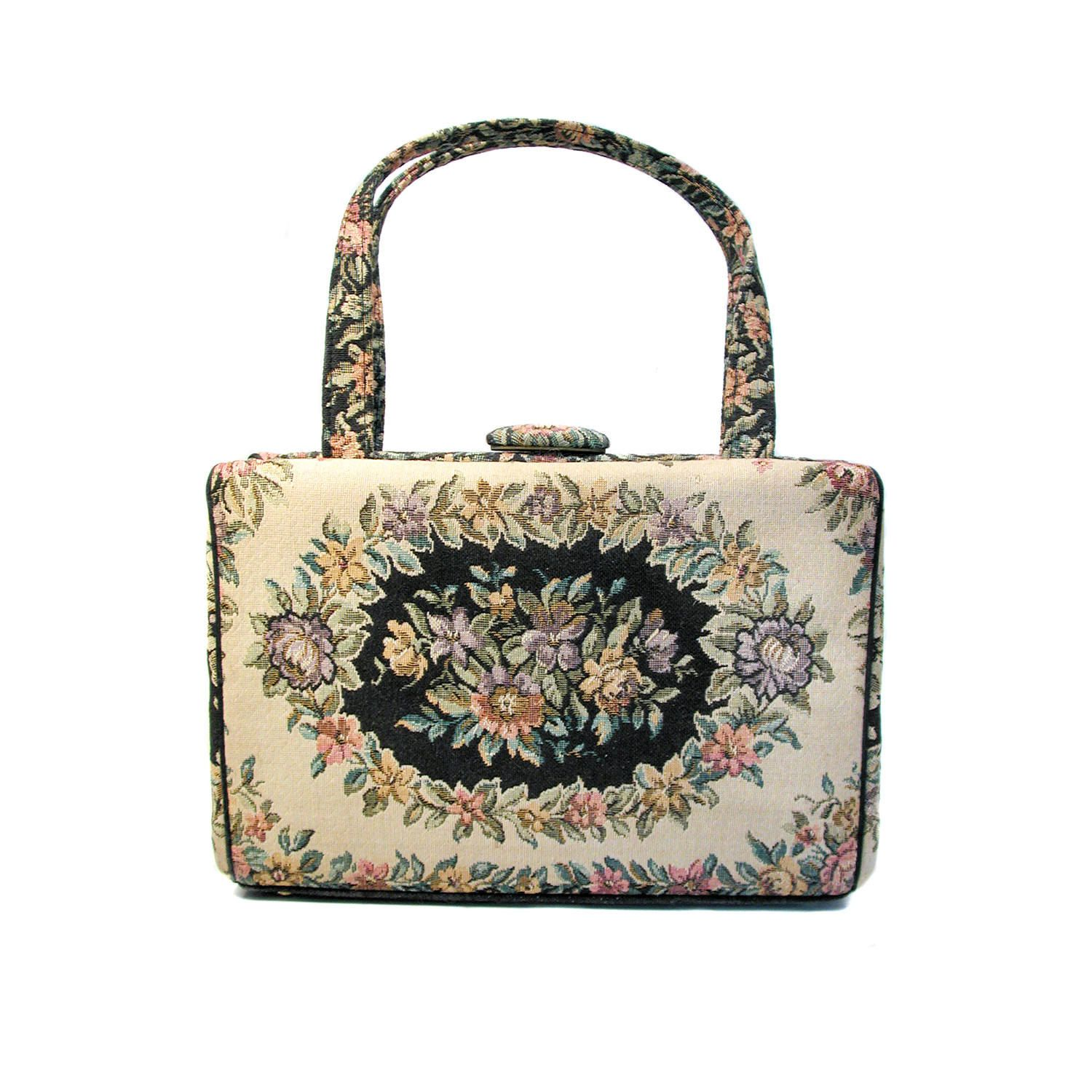 Vintage Tapestry Bag Waldman Tan Black Floral 60s Purse By Morningglorious On Etsy Tapestry Bag Vintage Tapestry 60s Purse