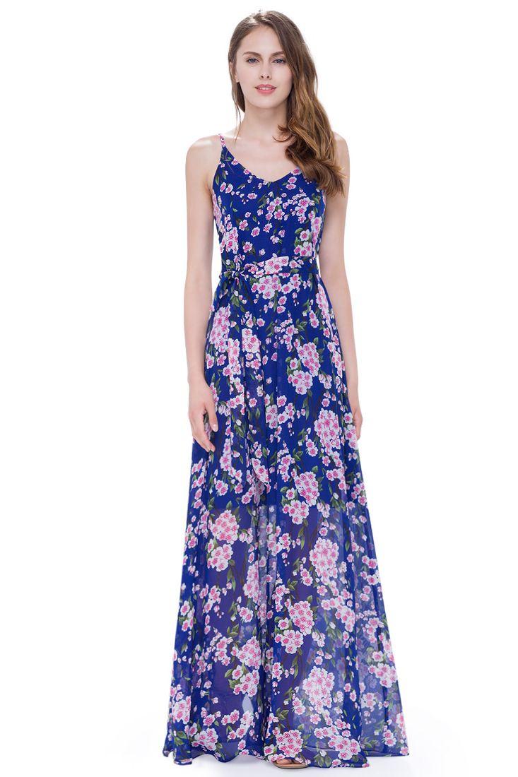 Clarissa Pink and Blue Floral Maxi Dress | Shop Floral Maxi Dresses ...