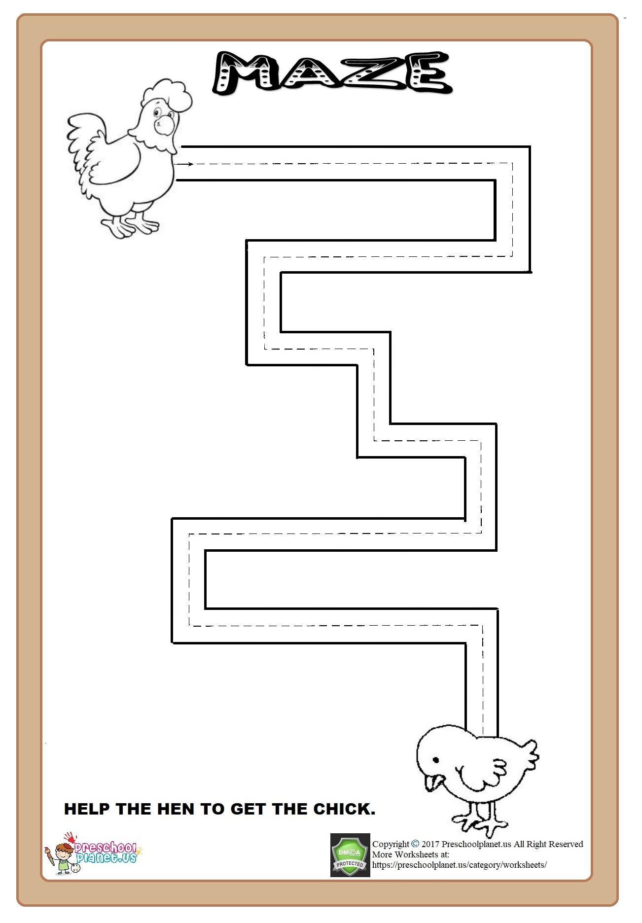 Maze Worksheet Here Is Maze Worksheet For Kindergarten