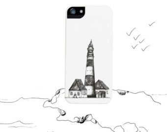 Lighthouse Illustration iPhone 4 Case black ink texture