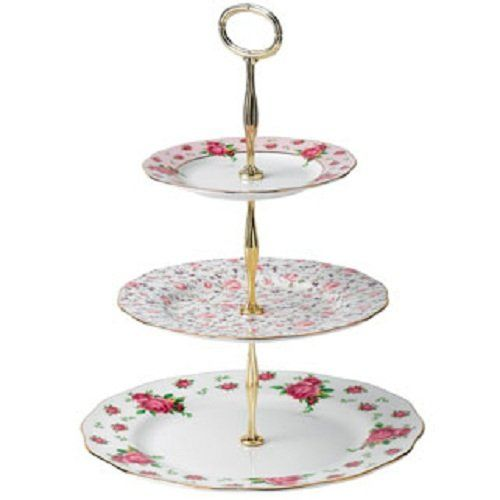 New Country Roses Vintage Formal 3 Tier Cake Stand For Sale Vintage Cake Stands Tiered Cakes Royal Albert