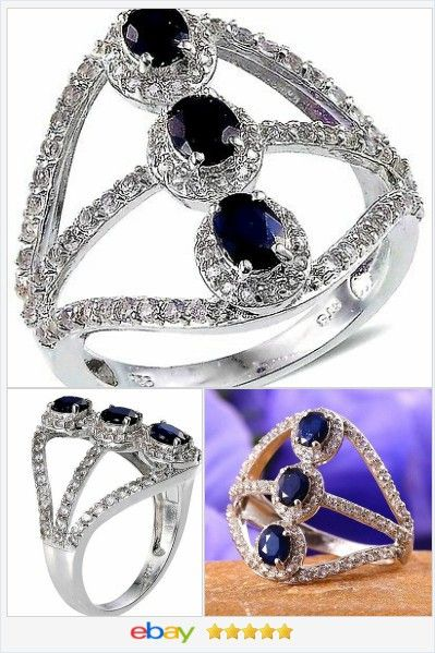 Blue Sapphire 3 stone Ring 3.00 carats size 8  60% OFF #ebay #christmasinjuly http://stores.ebay.com/JEWELRY-AND-GIFTS-BY-ALICE-AND-ANN