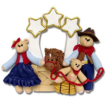 Belly Bear Cowboy  Family of 3  Personalized Family Christmas Ornament