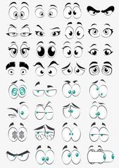 Cartoon Eye Collection Element Big Eyes Round Eyes Cartoon Eyes PNG Transpare