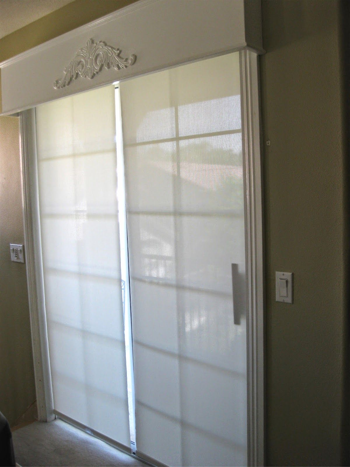 Sliding Glass Door Hunter Douglas Shades And Wood Cornice Box - Hunter douglas blinds for patio doors