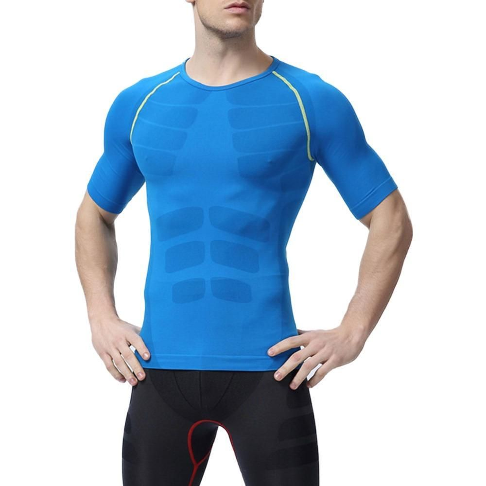 Men/'s Short Sleeve T-shirt Sports Compression Tight Fitness Base Layer Gym Top