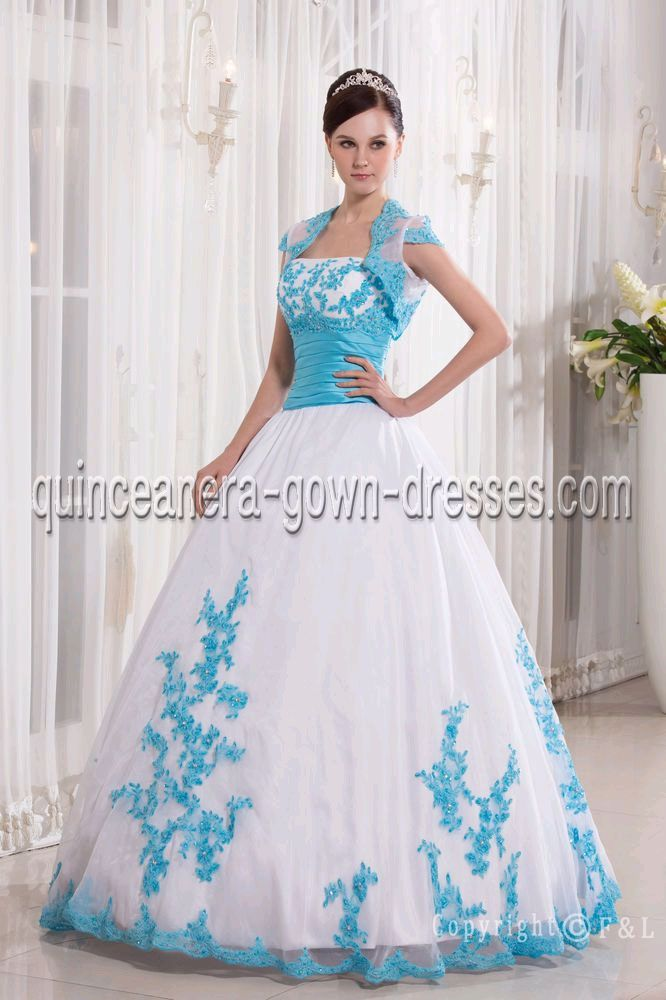 turquoise & brown cowgirl dress | Blue Puffy Quinceanera Dresses ...