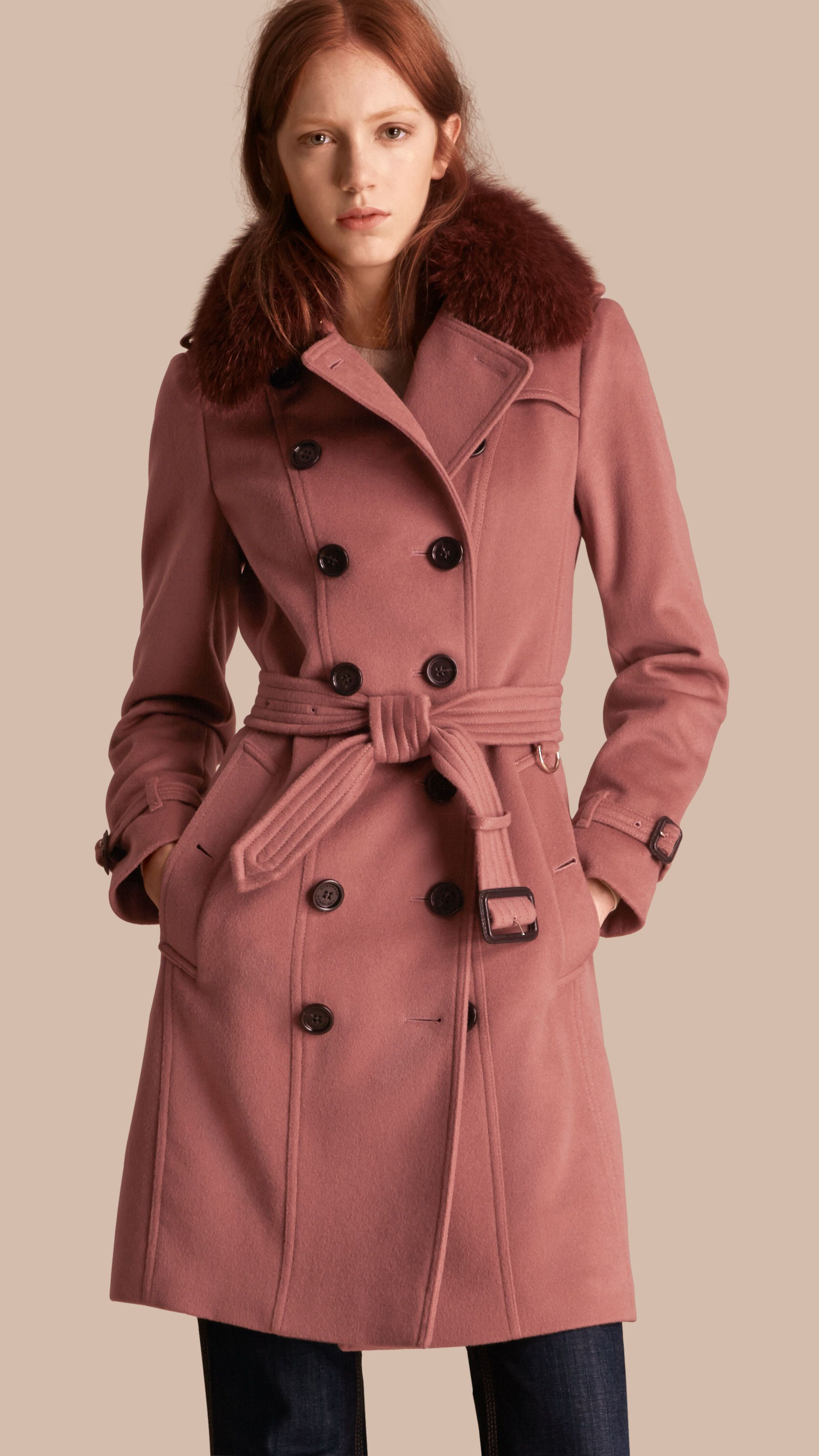 ef6bb5dea7029 Wool Cashmere Trench Coat with Detachable Fur Collar Antique Rose