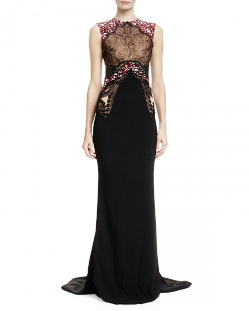 Stella Mccartney Women\'s Mixed Print Mermaid Gown Black White Black ...