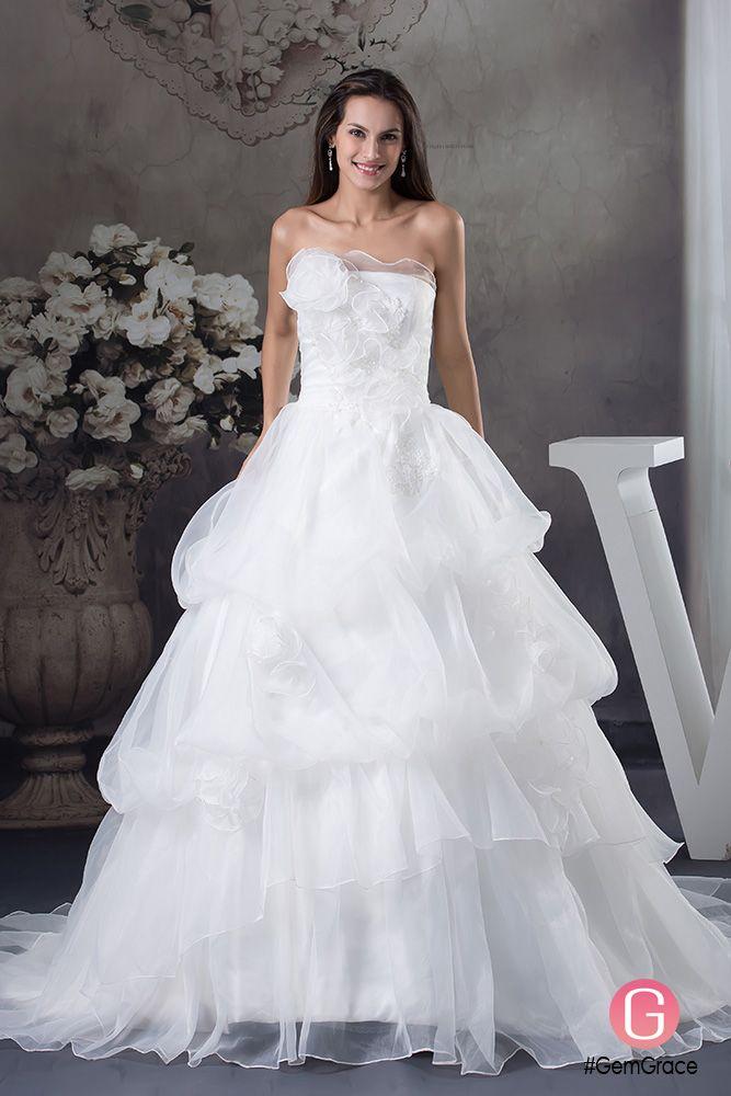 Strapless Ballgown Organza Layered Wedding Gown Custom #OPH1270 ...