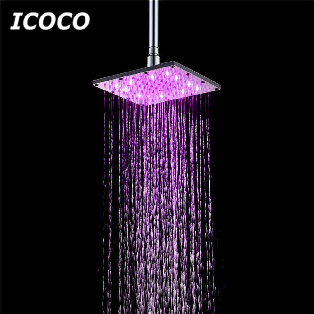 Icoco 6 8 Led Square Fixed Showerhead Shower Head Rainfall Top Spray 7 Colors Gradual Changing 3 Colors Temperatur Rainfall Shower Head Shower Heads Rainfall