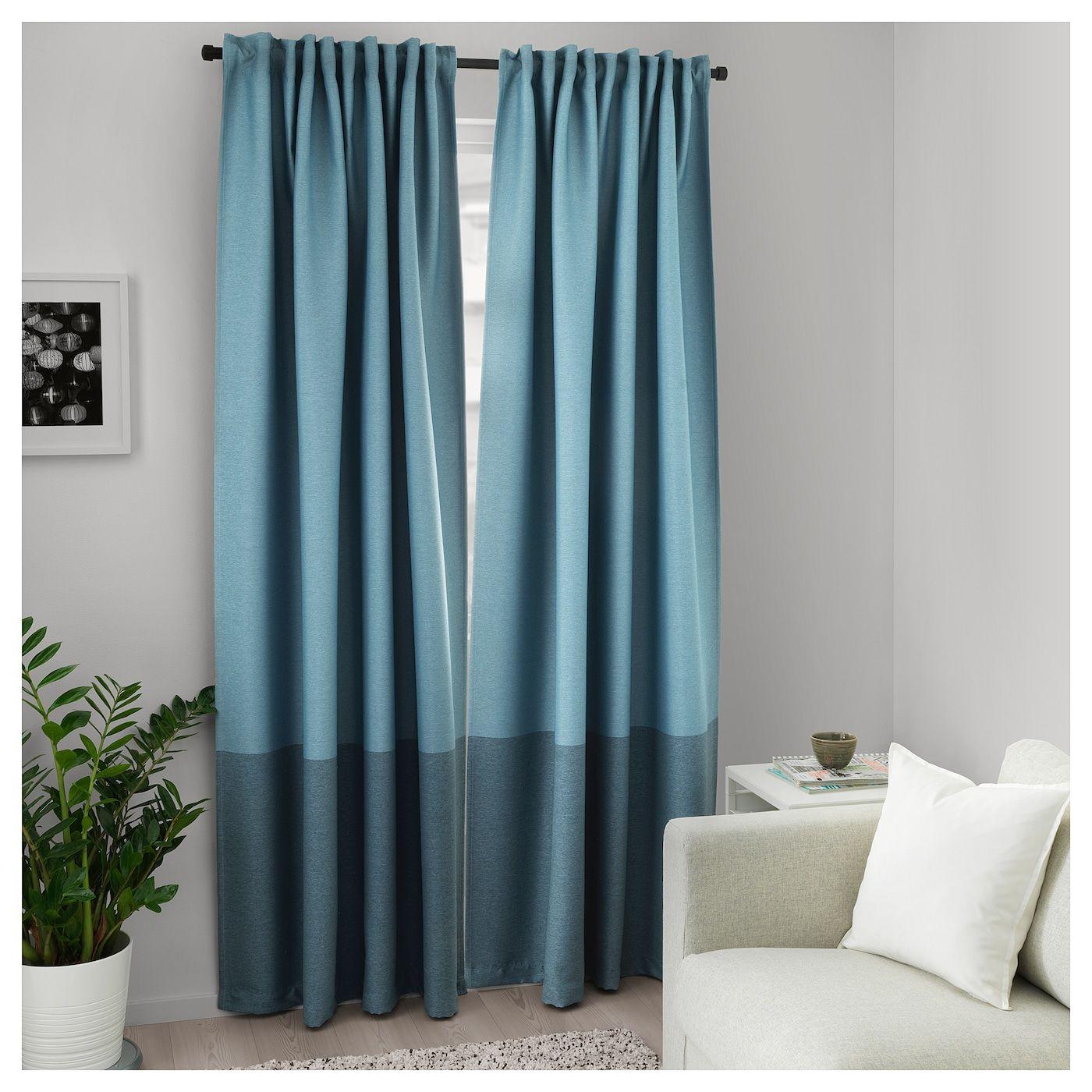 Marjun Room Darkening Curtains 1 Pair Blue 57x98 Rideaux