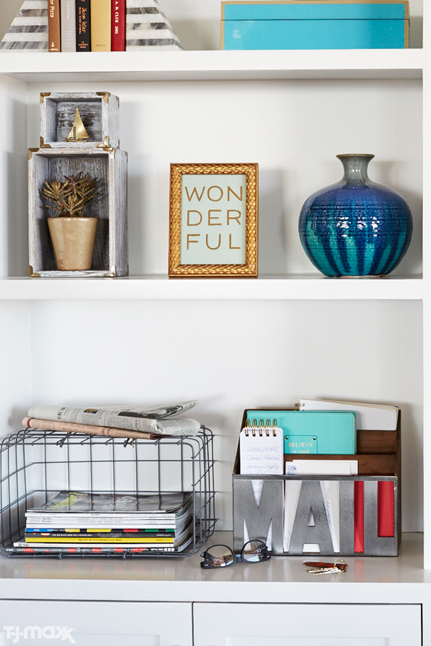 How to style a shelf use the majority of your shelving to display books
