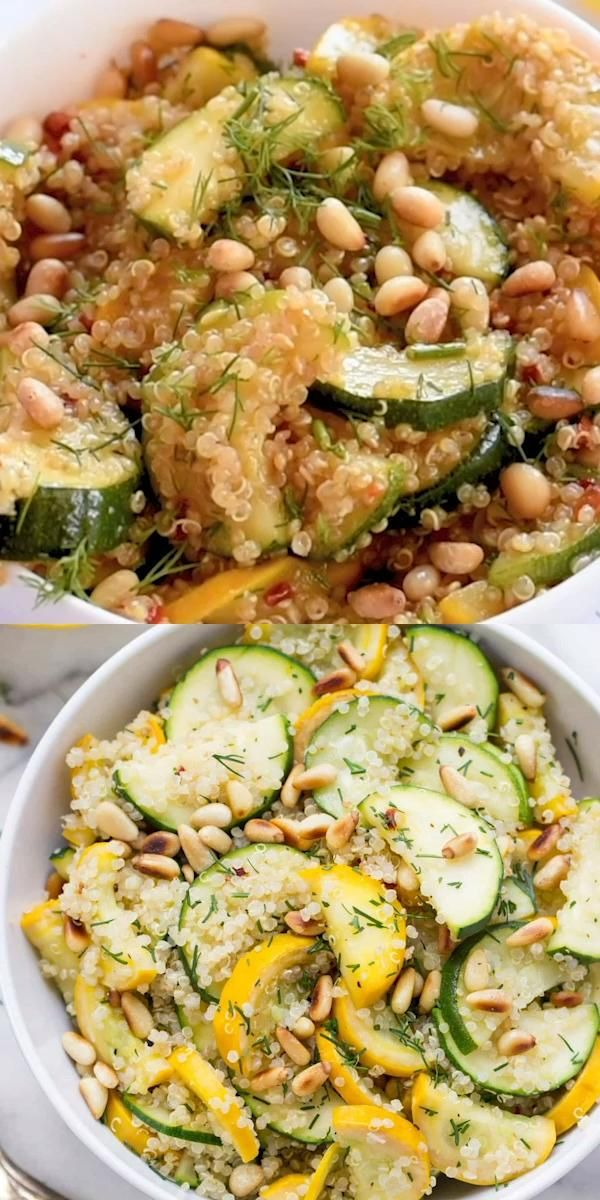 Photo of Summer Squash + Zucchini Quinoa Salad with Toasted Pine Nuts