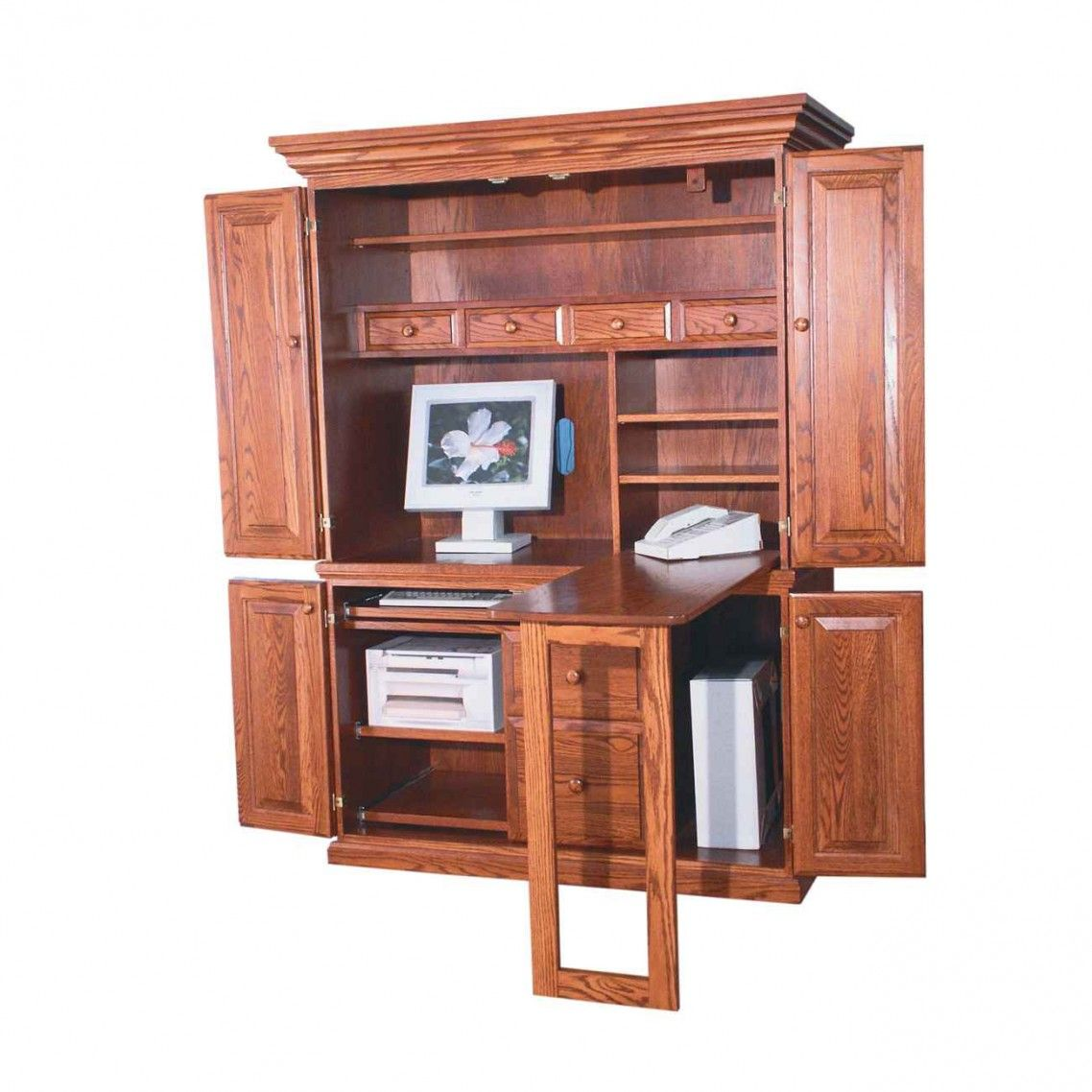 Computer Armoire Desk Cabinet Made Of Wood Completed With Small Shelf Attractive Wooden Computer Ar Computer Armoire Office Desk Designs Home Office Furniture