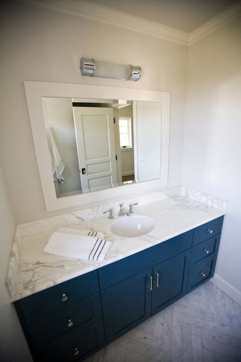 Contemporary Bathroom With Royal Blue Built In Vanity And Marble Countertops