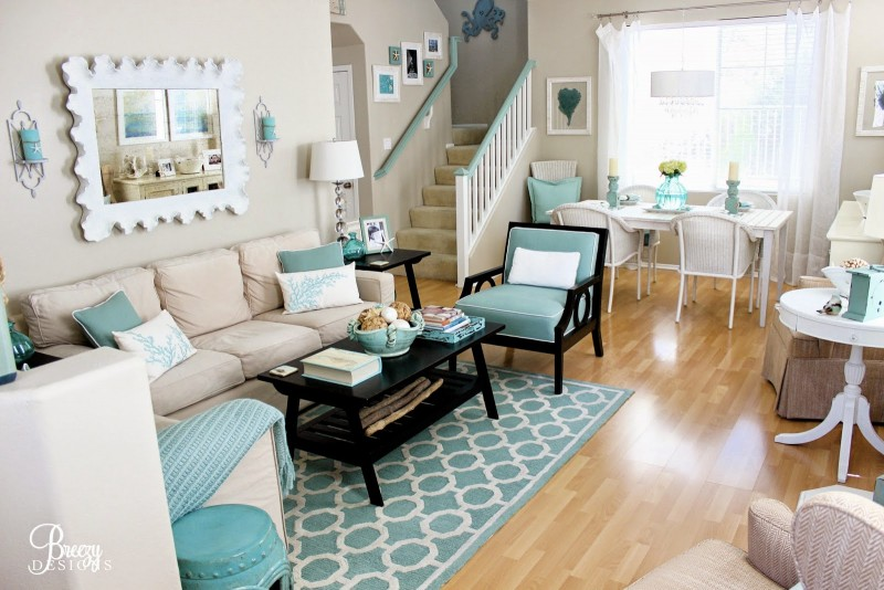 Beach Chic Coastal Cottage Home Tour With Breezy Design In 2020 Turquoise Color Scheme Living Room Turquoise Living Room Decor Aqua Living Room #turquoise #color #scheme #living #room