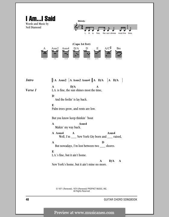 I Am...I Said: Lyrics and chords (with chord boxes) by Neil Diamond ...