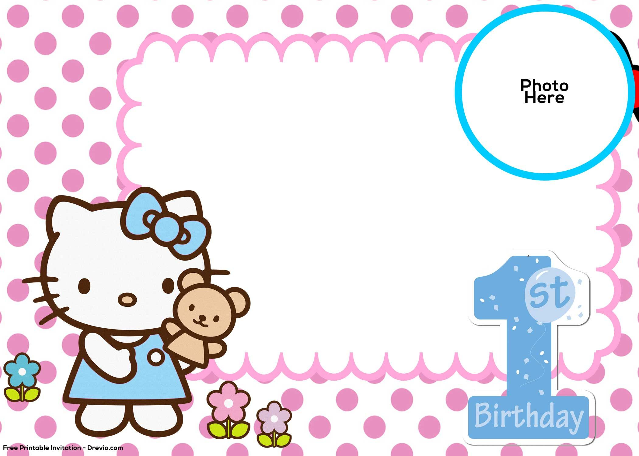 Nice FREE Hello Kitty 1st Birthday Invitation Template