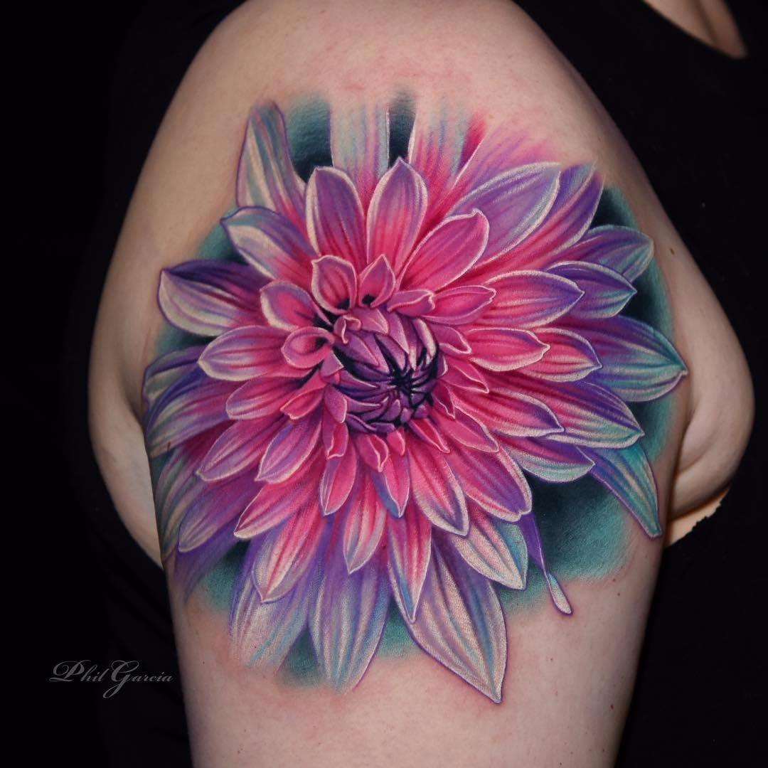 Vibrant Dahlia By Phil Garcia Philgarcia Realism Realistic Hyperrealism Color Dahli Flower Tattoo Shoulder Colorful Flower Tattoo Realistic Flower Tattoo