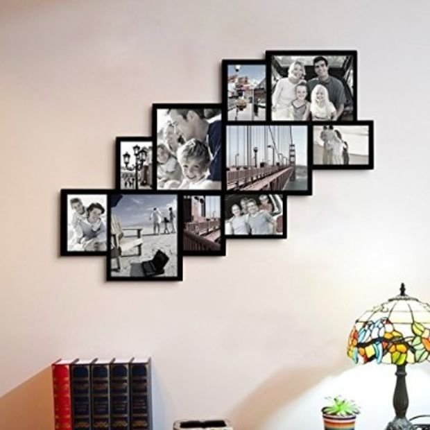 Adeco Decorative Black Wood Wall Hanging Picture Photo Frame Collage ...