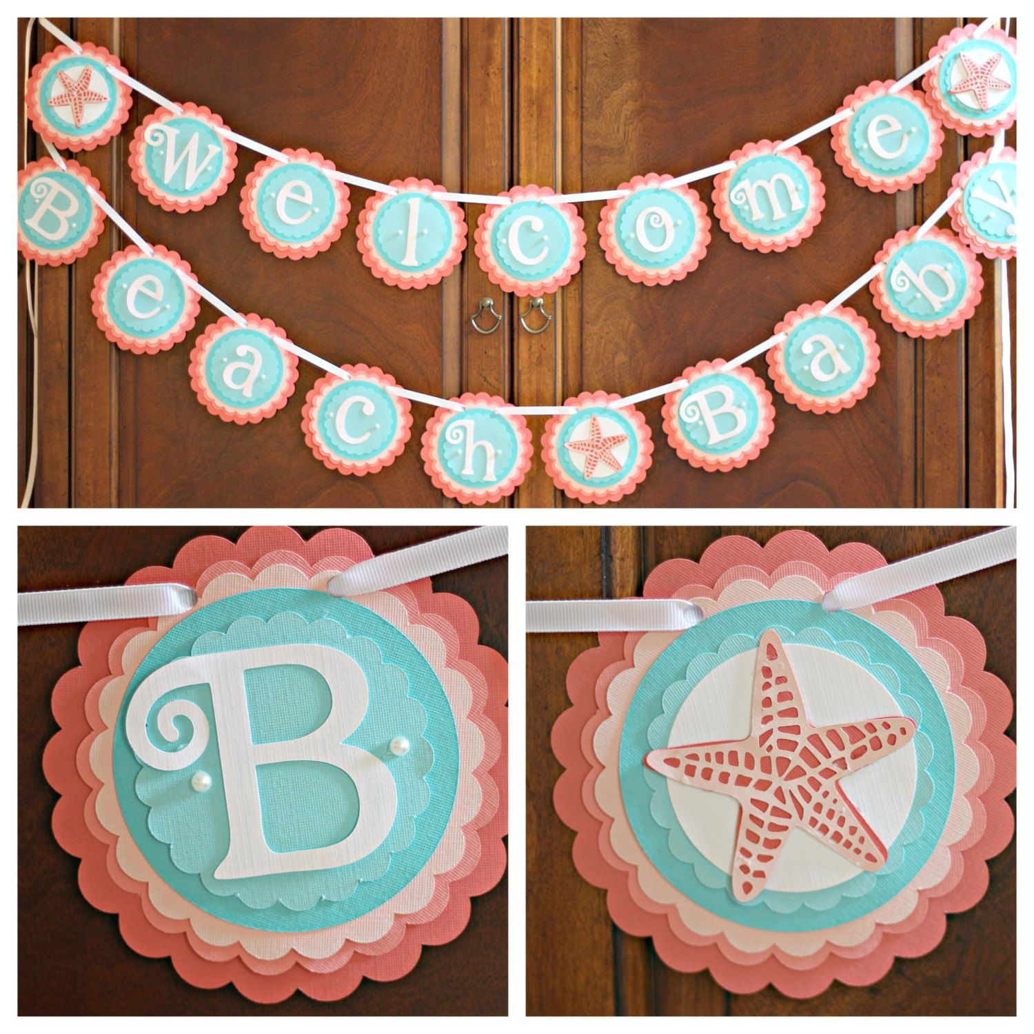 Girl Baby Shower Welcome Beach Baby Star Fish Ocean Coral
